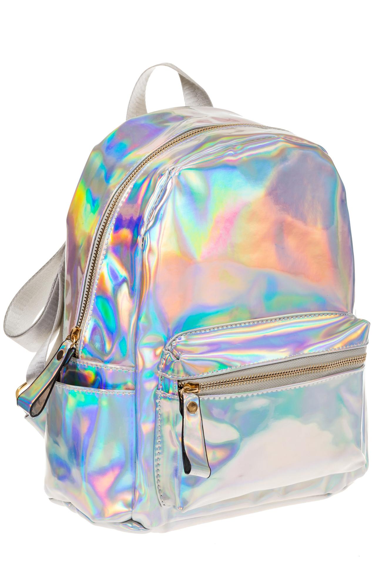 на фото Серебристый рюкзак-хамелеон из искусственной кожи 23