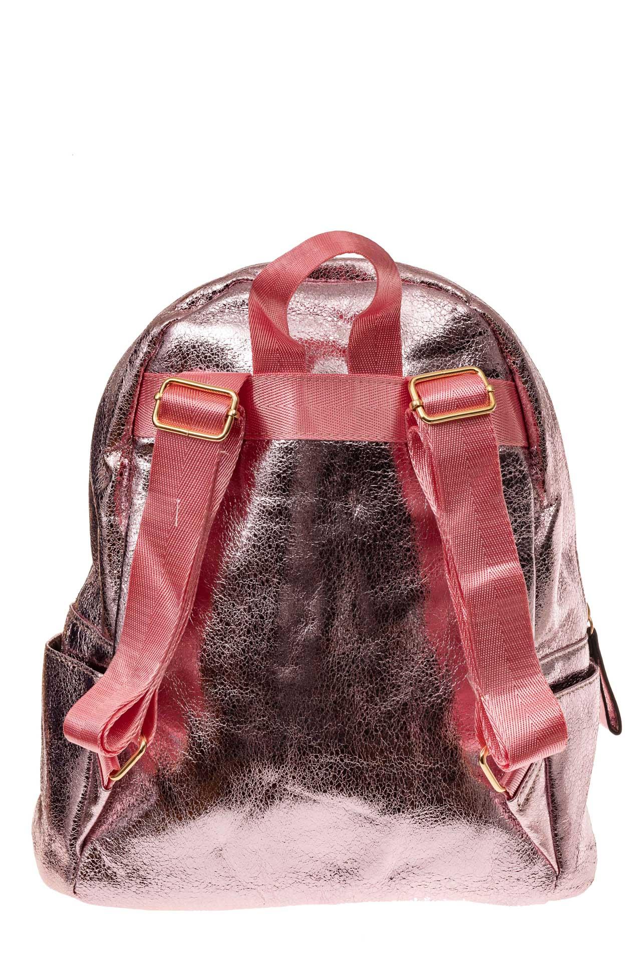 На фото 2 - Молодежный рюкзак из искусственной кожи, цвет розовый