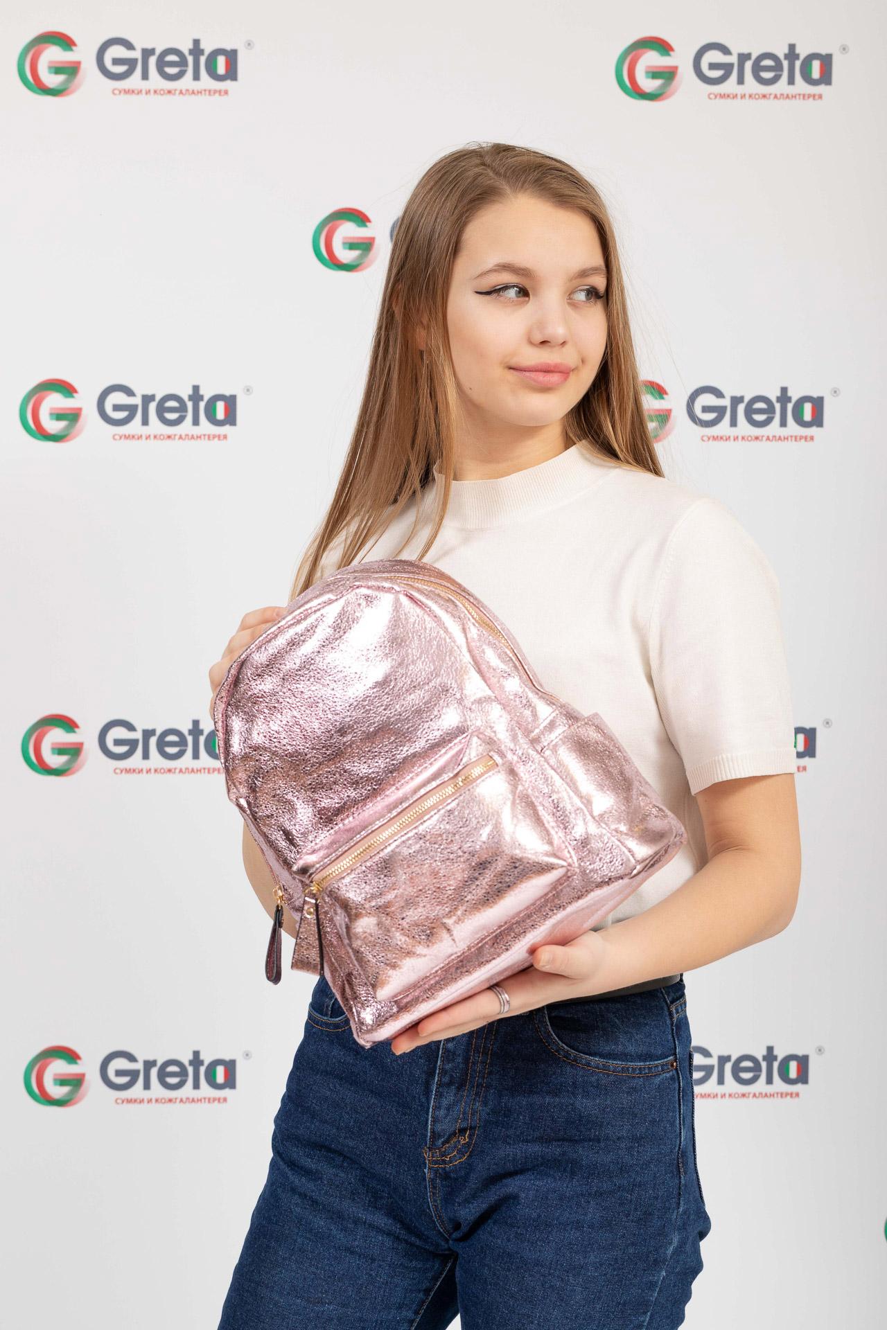 На фото 4 - Молодежный рюкзак из искусственной кожи, цвет розовый