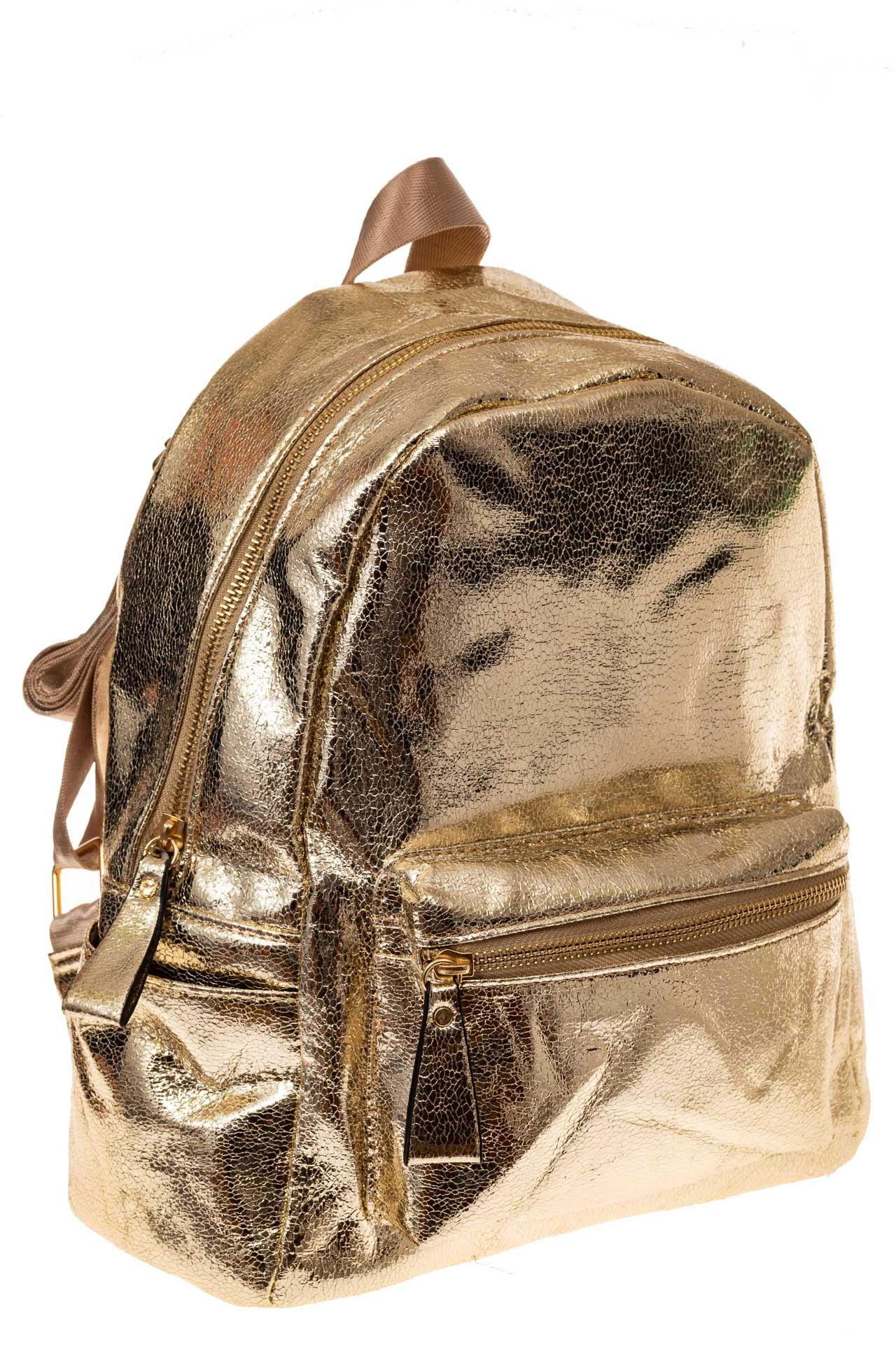 На фото 1 - Молодежный рюкзак из искусственной кожи, цвет золотой