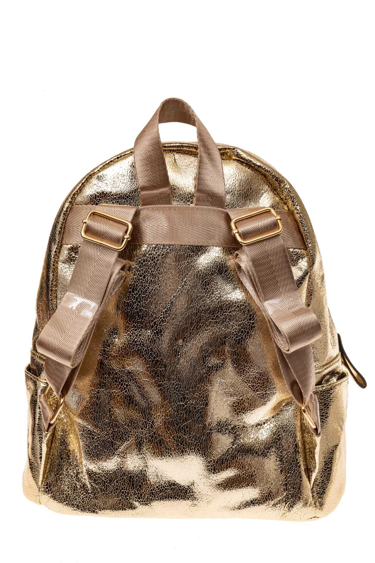 На фото 2 - Молодежный рюкзак из искусственной кожи, цвет золотой
