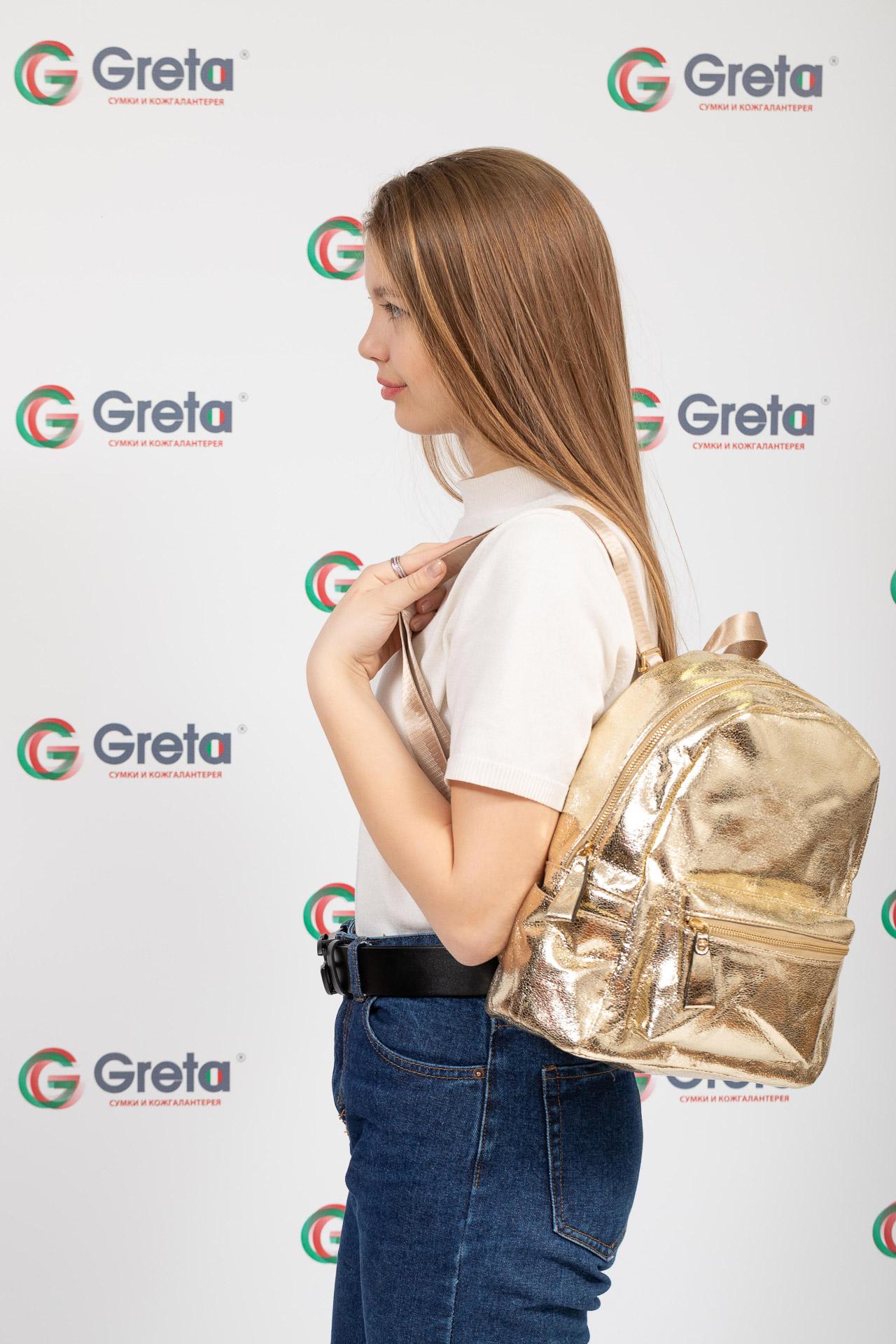 На фото 4 - Молодежный рюкзак из искусственной кожи, цвет золотой