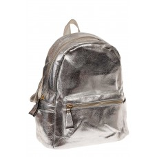 На фото 1 - Молодежный рюкзак из искусственной кожи, цвет серебро