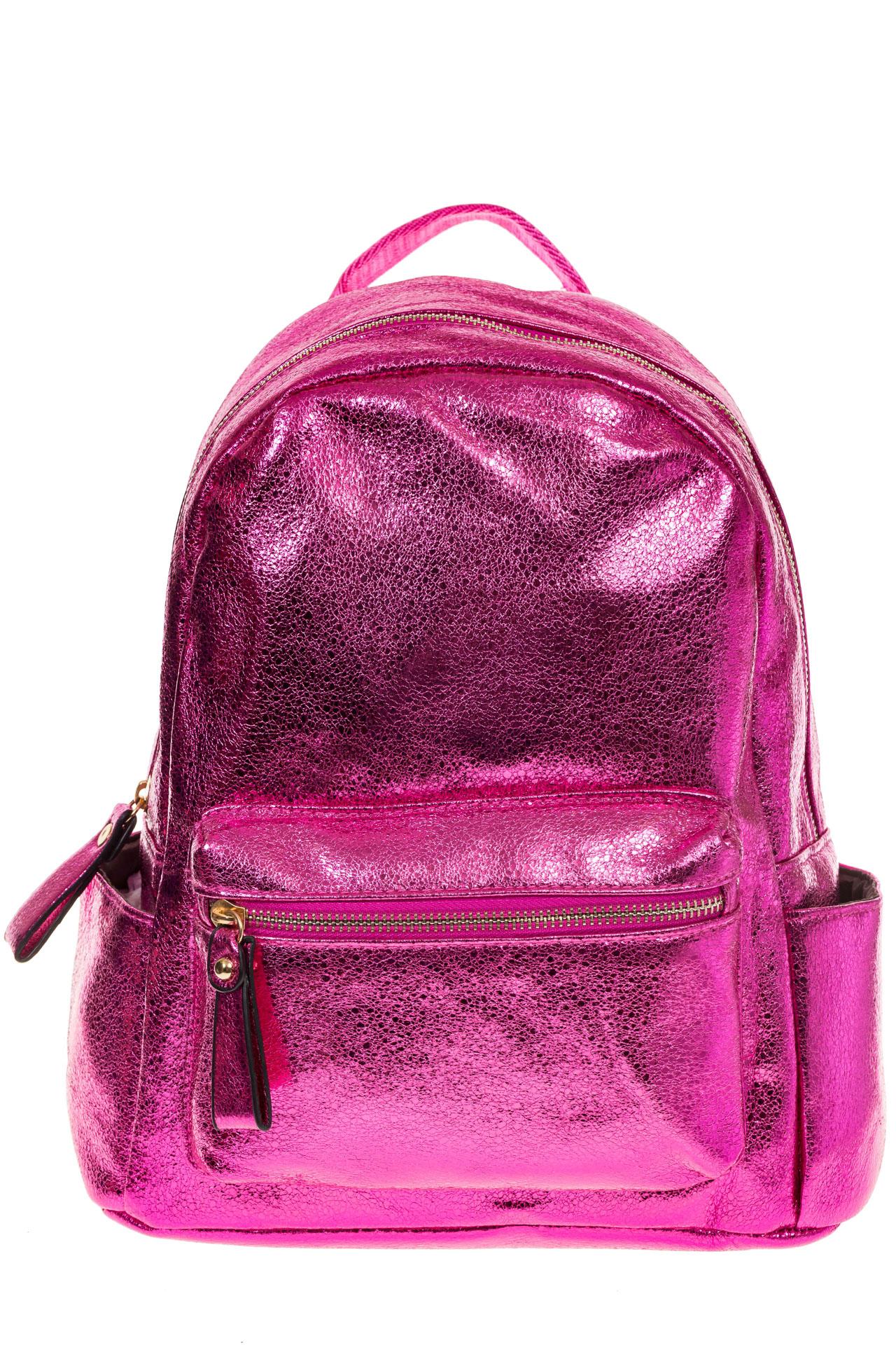 На фото 2 - Рюкзак цвета фуксия с металлическим отливом 25