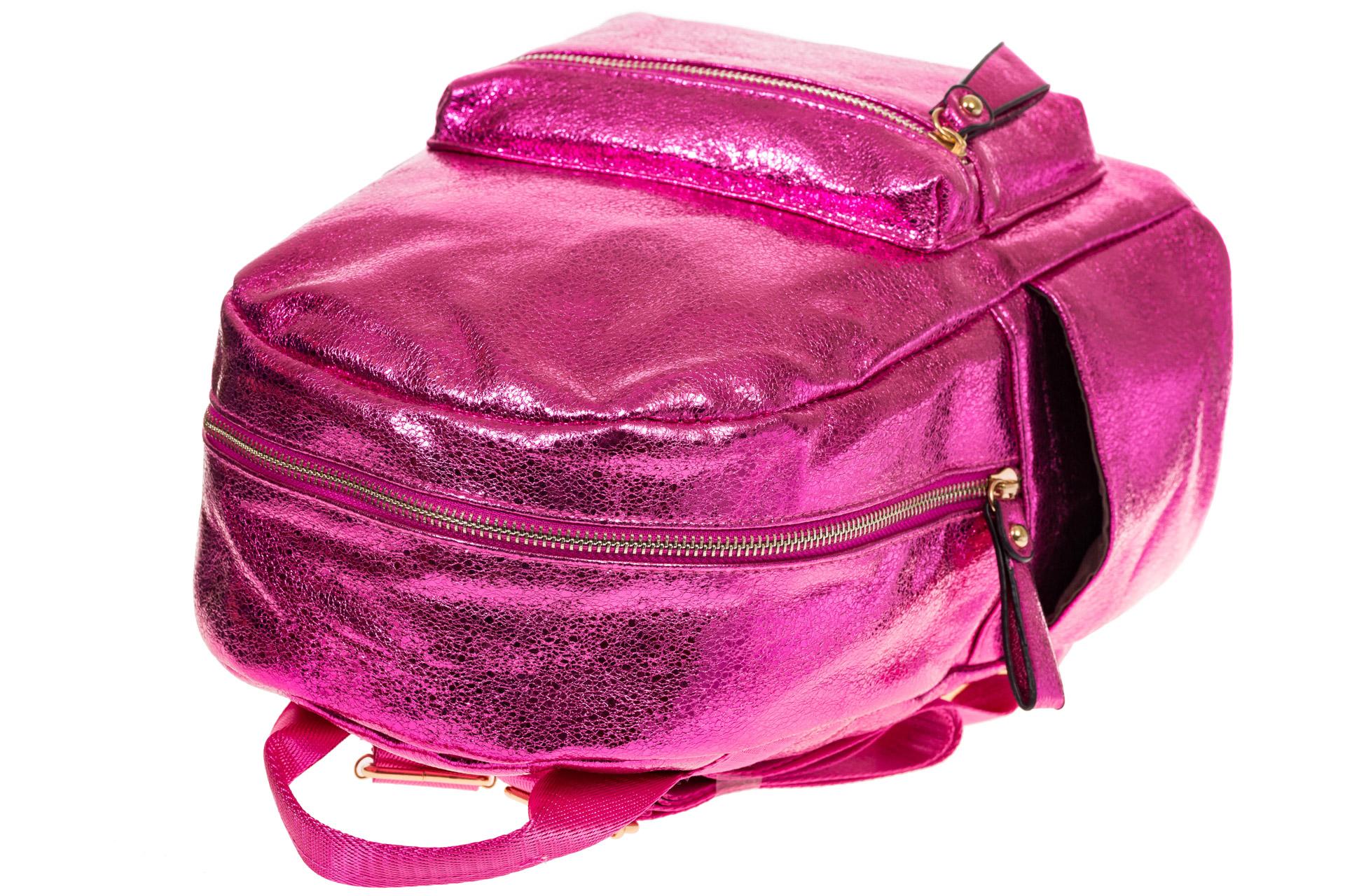 На фото 4 - Рюкзак цвета фуксия с металлическим отливом 25