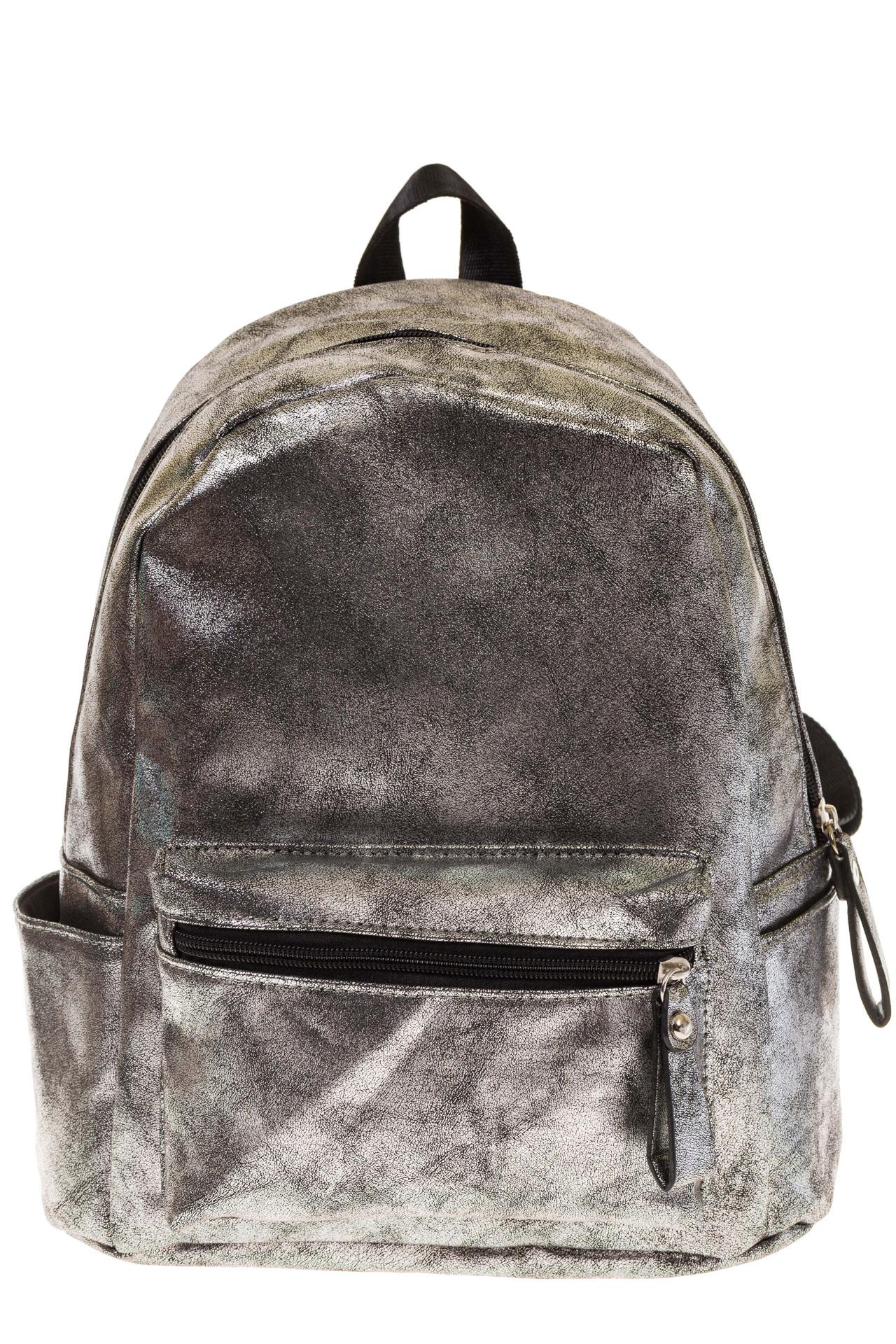 На фото 2 - Женский рюкзак из искусственной кожи серого цвета 025RJ5