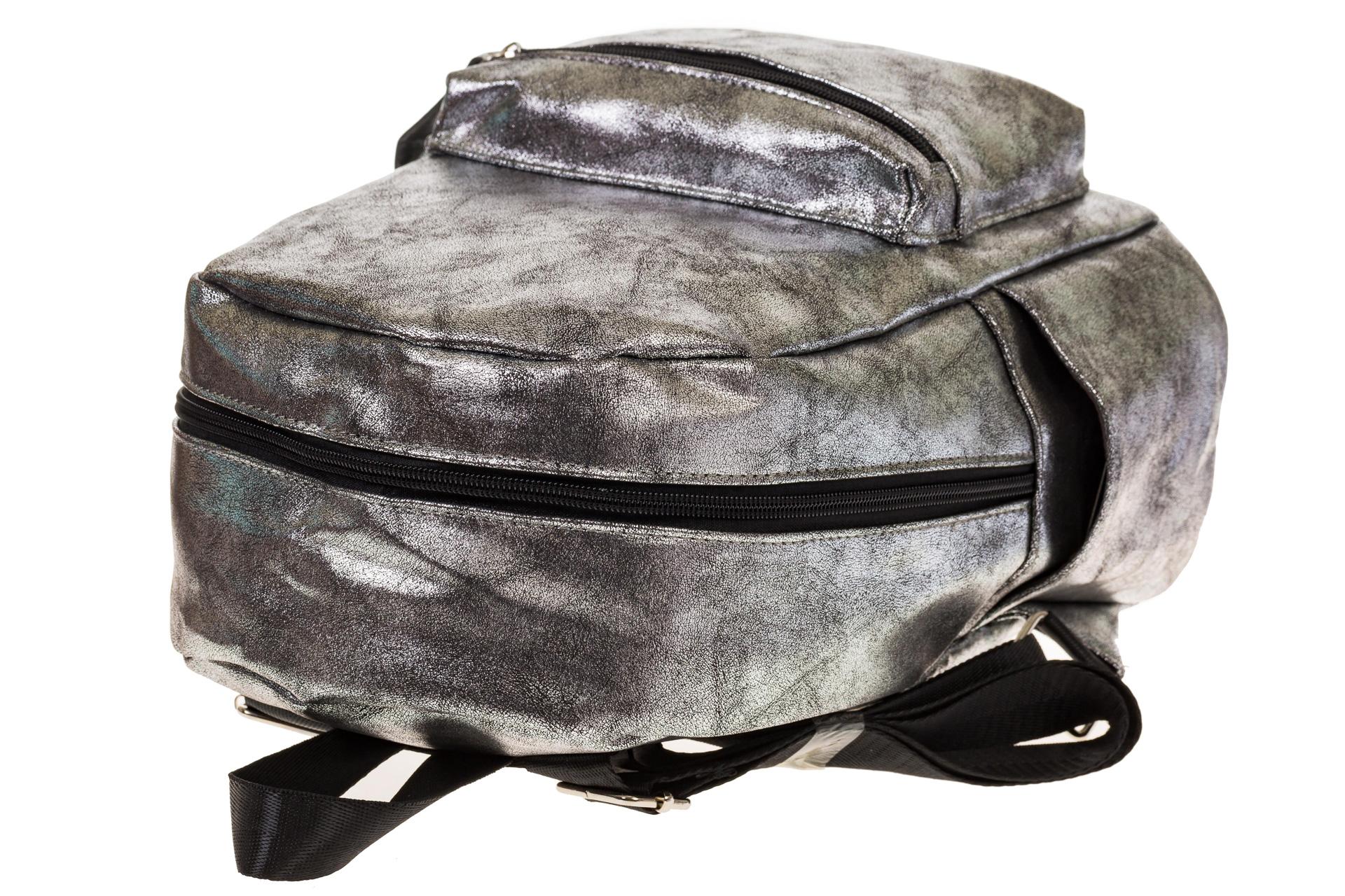 На фото 4 - Женский рюкзак из искусственной кожи серого цвета 025RJ5