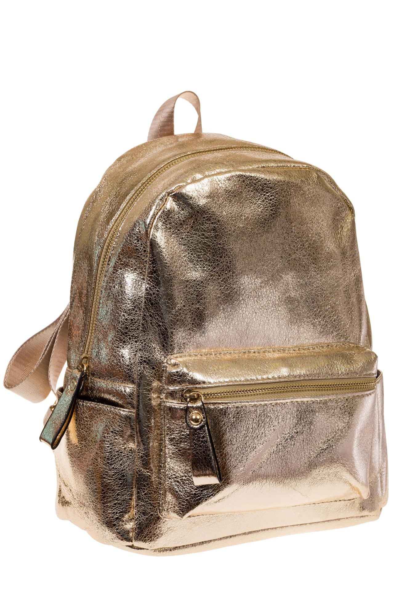 на фото Женский рюкзак из искусственной кожи золотистого цвета 025RJ5