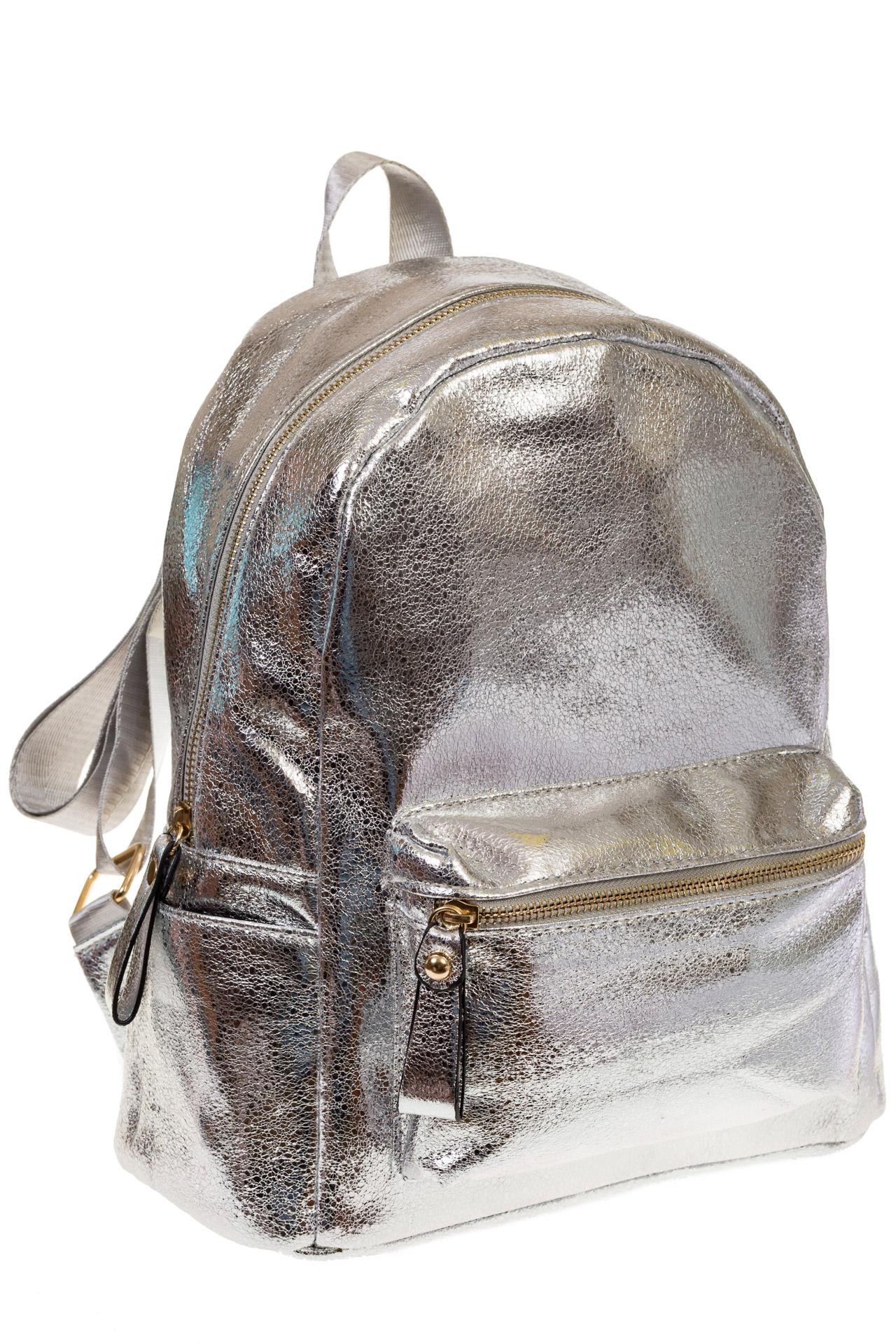 на фото Женский рюкзак из искусственной кожи серебристого цвета 025RJ5
