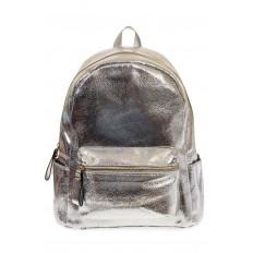 На фото 2 - Женский рюкзак из искусственной кожи серебристого цвета 025RJ5