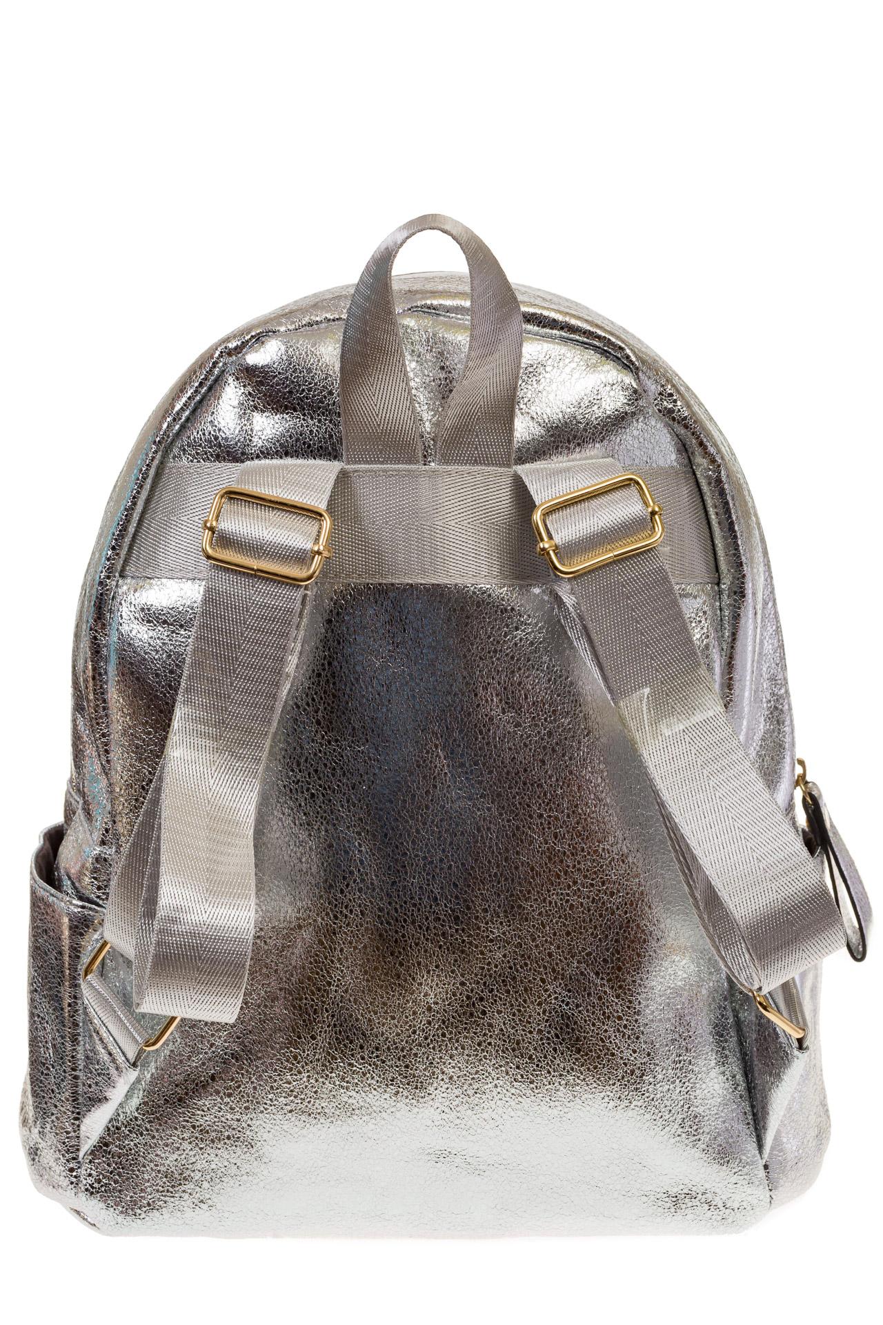 На фото 3 - Женский рюкзак из искусственной кожи серебристого цвета 025RJ5