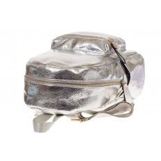 На фото 4 - Женский рюкзак из искусственной кожи серебристого цвета 025RJ5