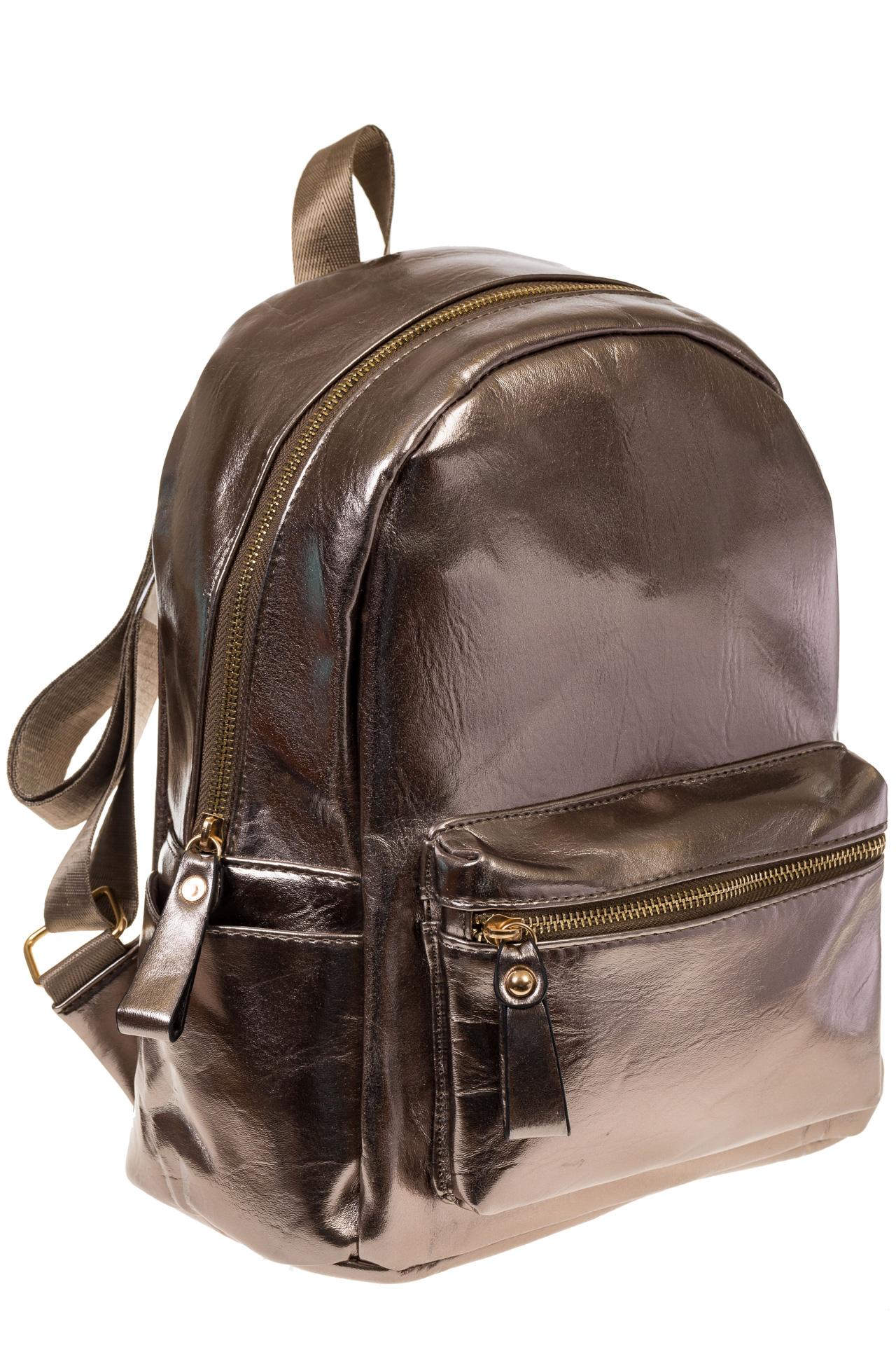 на фото Женский рюкзак из искусственной кожи бронзового цвета 025RJ5