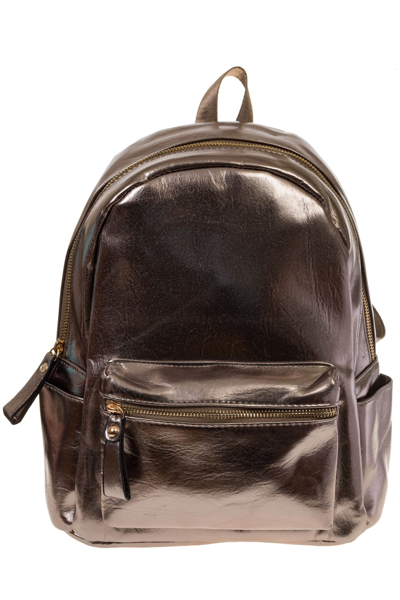 На фото 2 - Женский рюкзак из искусственной кожи бронзового цвета 025RJ5