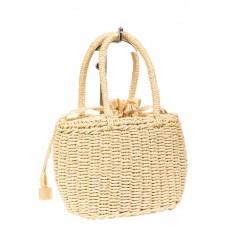 На фото 1 - Плетеная сумка-корзинка из соломки, цвет слоновой кости