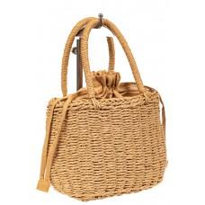 На фото 1 - Плетеная сумка-корзинка из соломки, цвет крафт