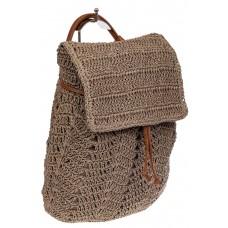 На фото 1 - Сумка-рюкзак плетеная из джута, цвет крафт