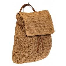 На фото 1 - Сумка-рюкзак плетеная из джута, цвет песочный