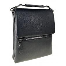 На фото 1 - Сумка-планшет мужская из фактурной кожи под документы, цвет чёрный