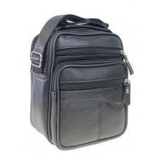 На фото 1 - Мужская чёрная сумка под документы из натуральной кожи