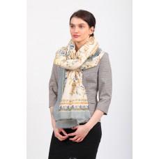 На фото 1 - Полупрозрачный шелковый палантин-платок и шарф, с золотистыми блестками, серый