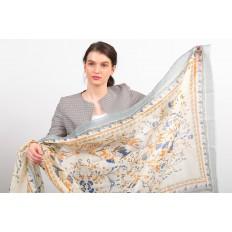 На фото 2 - Полупрозрачный палантин-платок и шарф, с золотистыми блестками, серый