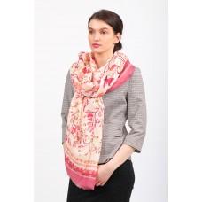 На фото 1 - Качественный яркий палантин-платок шелковый и шарф под шелк, розовый