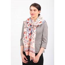 На фото 1 - Яркий шелковый палантин-платок и шарф для женщин, размер 186*176 см, пудра