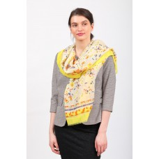 На фото 1 - Палантин-платок-шарф шелковый с золотым блестками, желтый