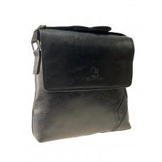 На фото 1 - Мужская повседневная сумка из экокожи, цвет чёрный