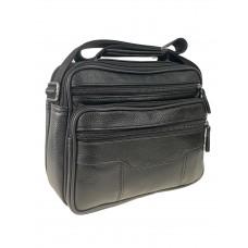 На фото 1 - Мужская кожаная сумка через плечо, цвет чёрный
