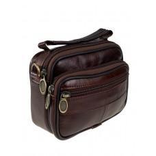 На фото 1 - Маленькая поясная сумка из натуральной кожи, цвет коричневый
