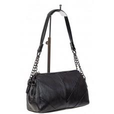 На фото 1 - Маленькая женская сумка из искусственной кожи с геометрической строчкой, цвет чёрный
