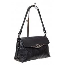 На фото 1 - Небольшая женская сумка из экокожи с декоративным элементом, цвет чёрный