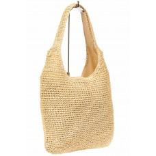 На фото 1 - Плетеная сумка из джута в формате хобо, цвет слоновой кости