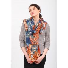 На фото 1 - Стильный цветной палантин-шарф по низкой цене, оранжевый с синим