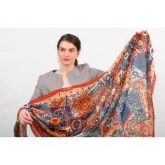На фото 2 - Стильный цветной палантин-шарф по низкой цене, оранжевый с синим