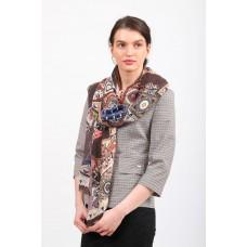 На фото 1 - Пестрый палантин-шарф, серый с коричневым