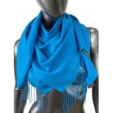 На фото 1 - Лёгкий платок-палантин из кашемира, цвет ярко-голубой