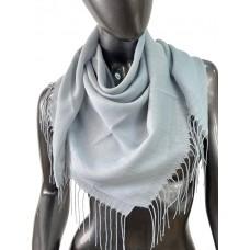На фото 1 - Лёгкий платок-палантин из кашемира, цвет серо-голубой