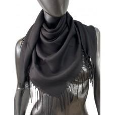 На фото 1 - Лёгкий платок-палантин из кашемира, цвет чёрный