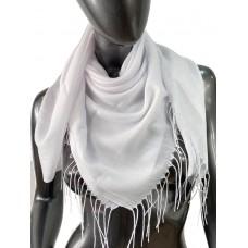 На фото 1 - Лёгкий платок-палантин из кашемира, цвет белый