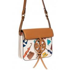 На фото 1 - Лёгкая летняя сумка из искусственной кожи, цвет белый с принтом