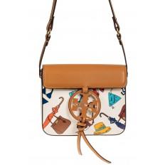 На фото 2 - Лёгкая летняя сумка из искусственной кожи, цвет белый с принтом