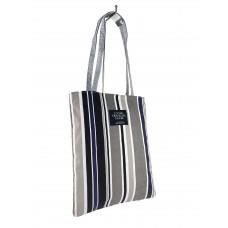 На фото 1 - Летняя женская сумка-шоппер из полосатого текстиля, мультицвет