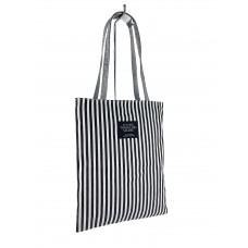 На фото 1 - Летняя женская сумка-шоппер из текстиля в полоску, цвет чёрный с белым