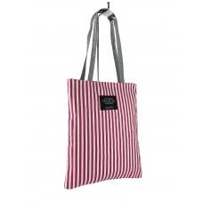 На фото 1 - Летняя женская сумка-шоппер из текстиля в полоску, цвет красный с белым