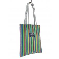 На фото 1 - Женская летняя сумка-шоппер из текстиля в полоску, разноцветная