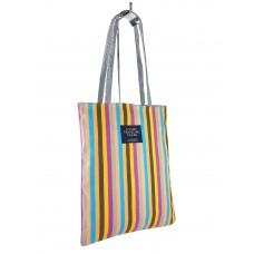 На фото 1 - Женская летняя сумка-шоппер из полосатого текстиля, разноцветная