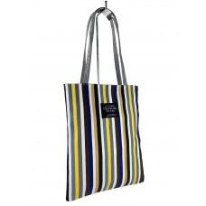 На фото 1 - Женская летняя сумка-шоппер из текстиля в полоску, мультицвет
